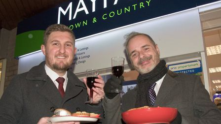 Mayfair staff handing out wine and mince pies at Worle Christmas fair. Picture: MARK ATHERTON