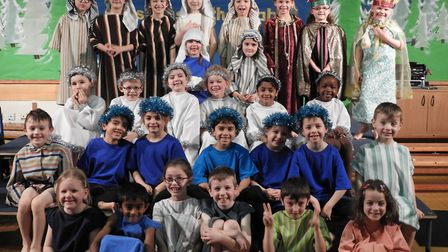 Children putting on their nativity for parents.