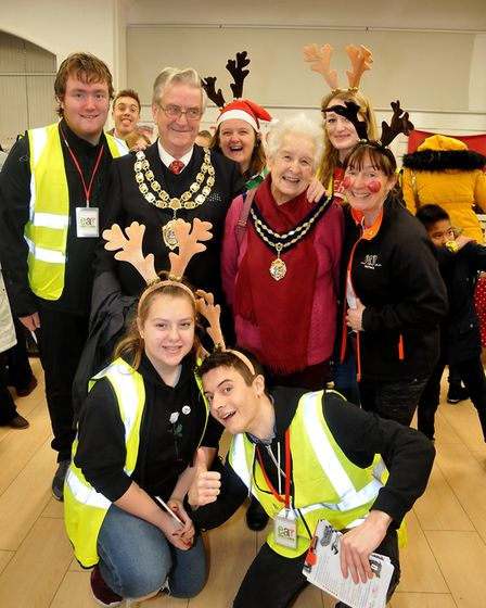 The Mayor and Lady Mayoress pop ineat:Christmas W-s-M moved into the Sovereign Centre after a foreca