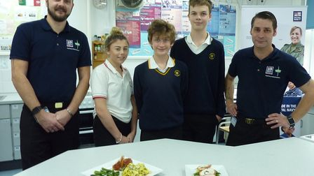 Marples and Thewlis from Royal Navy Logistics in Portsmouth demonstrated their culinary skills to st