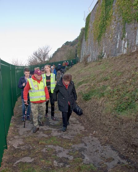 Supporters and friends of the pier taking a walk along the newly opened coastal path. Picture: MA