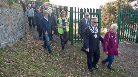 Weston Mayor Cllr. Mike Lyall and mayoress Margaret Lyall taking a walk along the newly opened coast