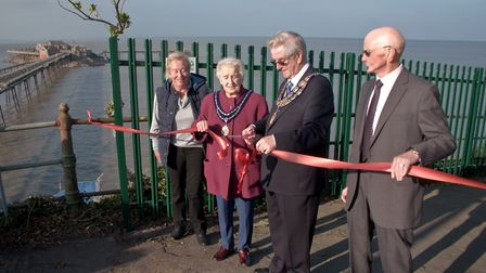 Weston Mayor Cllr. Mike Lyall and mayoress Margaret Lyall with Charles McCann Chairman of friends of