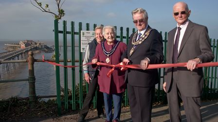 Weston mayor Mike Lyall and mayoress Margaret Lyall with Charles McCann chairman of Friends of the O