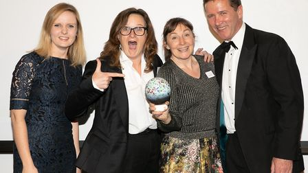 Sarah and Bev Milner Simonds, Stephanie Gibbs and Michael Raywood collect award. Picture: NICK WI