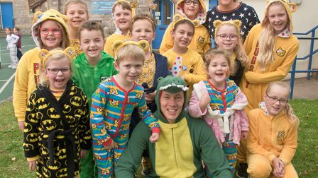 Staff and pupils dressed in onesies at Worle Village Primary School. Picture: Mark Atherton