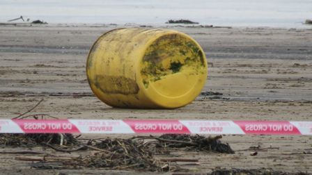 A 200 litre drum of an unknown and 'potentially hazardous substance washed up on Brean beach, Saturd