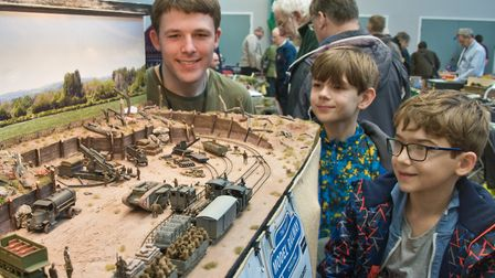 Callum Willcox show Oliver and Isaac around his 'N' gauge layout based on the Amiems battlefield of