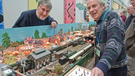 David Temple and David Bell with their Scharps Park layout at Weston-super-Mare model railway show a