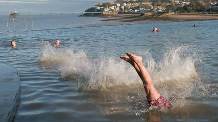 The annual Marlens New Years Day swim in Clevedon Marine Lake. Picture: MARK ATHERTON