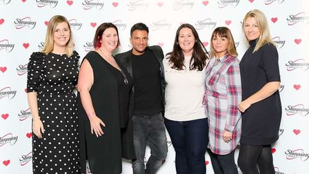 Amy Baker, second from left, and other Consultants, with Slimming World Ambassador Peter Andre who h