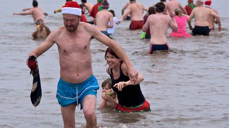 Christmas Day swim hosted by Weston RNLI at the Marine Lake. Picture: MARK ATHERTON