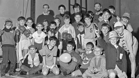 """Members of the 1st YMCA Cubs at their annual Party. Theme for the fancy dress was """"Olympics '68""""."""