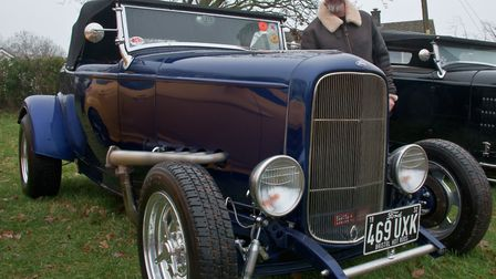 Simon Chilcott with his Ford 32 Roadster at Redhill classic car meet. Picture: MARK ATHERTON