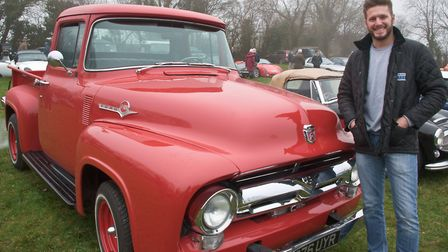 Paul Sanders with his 1956 Ford F100 at the Redhill Classic Car meet. Picture: MARK ATHERTON