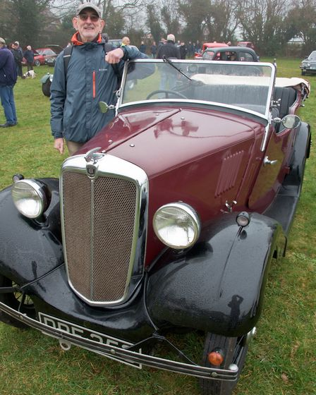 Paul Wheatcroft and his 1935 Morris 8 Tourer at Redhill classic car meet. Picture: MARK ATHERTO