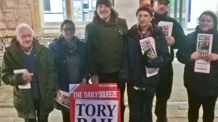 Members of the Labour party protest annual fare increases at Weston-super-Mare station Picture: Gar
