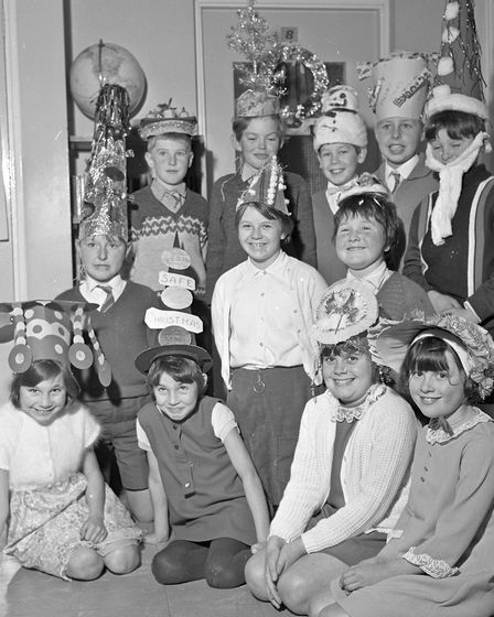 Competitors in the Christmas hat competition at Windwhistle School's party. Picture: MARK ATHERTO