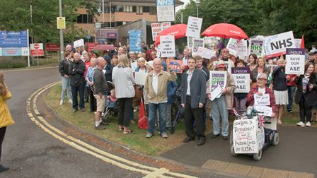 Protesters outside Weston General Hospital on the day the overnight closure began last year.