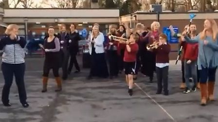 Locking Primary School took part in a flash mob challenge. Picture: Chloe Garty