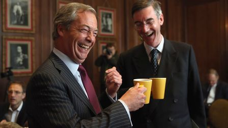 Brexiteers Nigel Farage and Jacob Rees-Mogg. (Photo by Dan Kitwood/Getty Images)