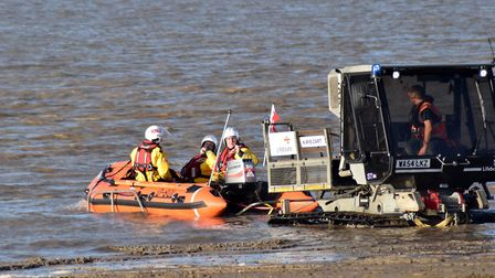 The lifeboat being lowered into the water at Burnham beach. Picture: Mike Lang/RNLI