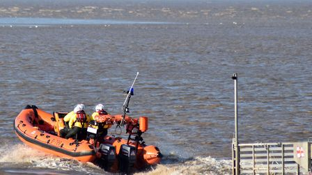 Burnham-on-Sea RNLI preparing to launch. Picture: Mike Lang/RNLI