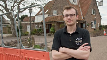 The Rodney Stoke Inn holding manager, Jamie Smart, says road closures have affected business. P
