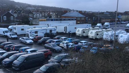 Film crews in Locking Road Car Park. Picture: Henry Woodsford
