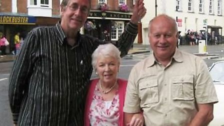Trust secretary Nigel Lincoln and treasurer Phil Davies with June Whitfield.
