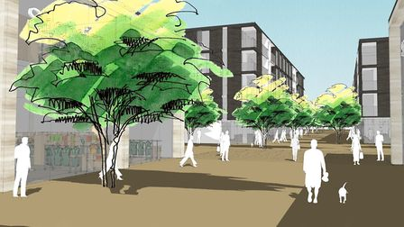 An artist's impression of what the new-look Old Mill Road would look like. Picture: Standard Life In
