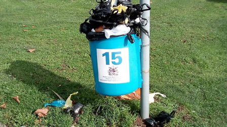 The bin at Castle Batch has been overflowing for a number of weeks. Picture: Marc Aplin