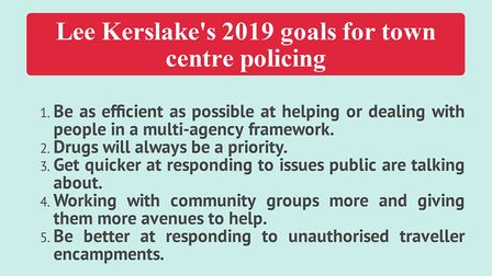 Town Centre Police Sergeant Lee Kerslake's goals for 2019.