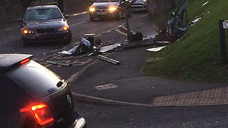 A car crashed into a bus shelter this morning.Picture: Wayne Goffey