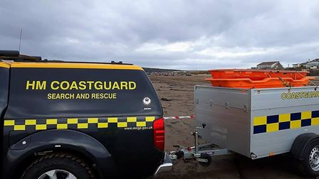 The coastguard and fire and rescue service maintain a safety cordon. Picture: 2019 Burnham Coastguar