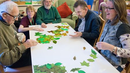 Residents and staff using the magic light table at Winscombe Hall Care Home, Winscombe Hill. Pict