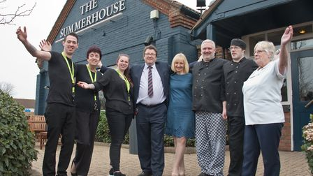 John and Chris Brown and staff at The Summerhouse pub. It has undergone a £250k refurb. Picture