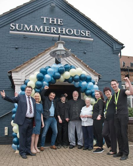 John and Chris Brown and staff at The Summerhouse pub. It has undergone a £250k refurb. Picture: