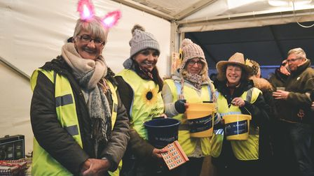 St Margarets Hospice' volunteers helped out at the wassail ceremony. Picture: Ollie Woolacott