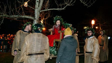 Rich's Cider Wassail Queen Evie-Mae Collings being lifted towards the tree.