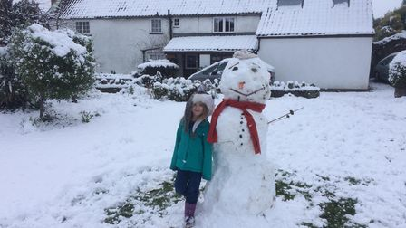 Enough snow has fallen in Yatton for early risers to create a snowman. Picture: Belinda Eggington.