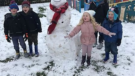 Gemma George's children loving the snow in LockingCcastle park. Picture: Gemma George