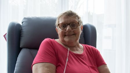 Jenny Hobbs photographed sitting on her new reclining chair in Weston Hospicecare's inpatient unit.