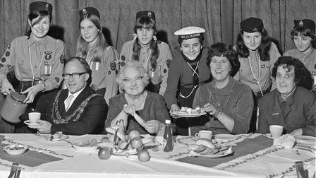 The Mayor and Mayoress (Cllr. and Mrs. P.F. Hess), who were guests at Worle Darby and Joan Club New