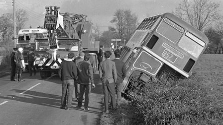 When this bus went into a ditch on the Bristol - Weston road near the Woopack, a 30 to crane which w
