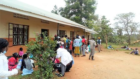 People queuing outside the first medical camp in Nwademuttwe. Picture: Rotary Club of Kampala Sunris