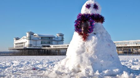 Could a snowman be appearing on Weston beach this week? The Met Office seems to think so. Picture: M
