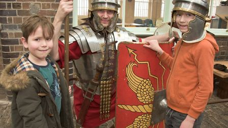 William and Alastair with John Cosh of the Ermine Street Guard during Romans Day at Weston Museum Hi