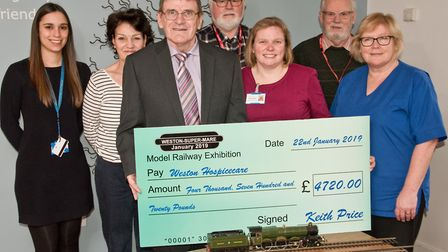 Weston-super-Mare Model Railway Exhibition organisers presenting cheque to Weston Hospicecare. Pi