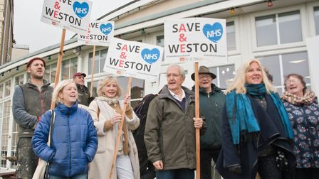 Protest by Save Weston A&E, outside the CCG meeting being held at the Royal Hotel. Picture: MARK A